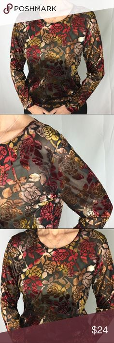 """PSE Sheer Velveteen Top Shimmery gold, red, copper velvet floral pattern against sheer black mesh. Size large but fits more like a medium. 70% rayon, 30% polyester. Dry clean or hand wash cold water. 20"""" armpit to armpit, 22.5"""" shoulder to cuff, 23"""" collar to hem. Sexy and luxurious looking! PSE Tops"""