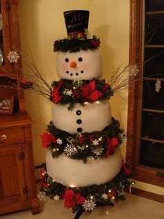 Christmas time is time for building Frosty using a faux tree. Separate branches and fill with fiber fill. Wrap fiber fill with fleece or snow blanket.   ~Frosty is missing his boot in this picture, but I use an old pair of men's black boots..and tuck them under the bottom branches. ~