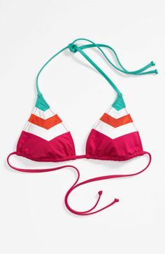 Becca Chevron Colorblock Triangle Bikini Top. Love this for Honeymoon.
