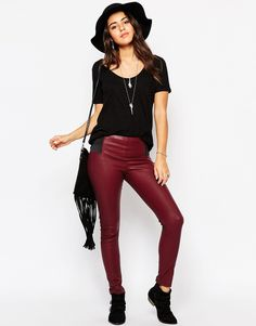 """Trousers by Glamorous Smooth, leather-look fabric Matte finish Elasticated inserts to waist High-rise Skinny fit - cut closely to the body Hand wash 55% Elastane, 45% Polyurethane Our model wears a UK S/EU S/US XS and is 176cm/5'9.5"""" tall"""