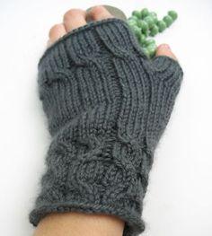 lovely grey fingerless hand-knit gloves