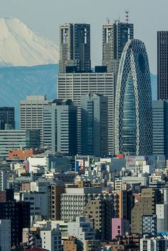 Is that Fuji-san in the background? Shinjuku skyscrapers #Tokyo, #Japan