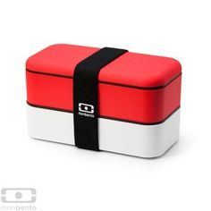"Monbento Original Bento Box - RED / WHITE by monbento. $36.00. RED / WHITE Bento Box - 2 tiered. BPA-free. Microwave and Diswasher SAFE. 100% airtight for easy transport - elastic band included. Monbento Original Bento Box - RED / WHITE  Sleek and Stylish with a Matte finish and ""soft touch"" exterior - Monbento Bento Boxes make the perfect lunch box to carry your meal to work or for packing your children's school lunches!   Features: Includes 2 containers and a..."