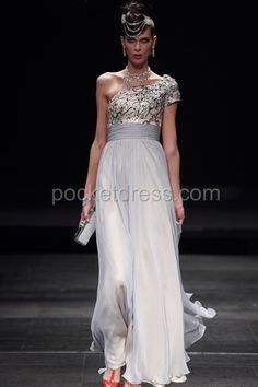 One Shoulder Prom Dress in Grey Overlay Style with Beadings