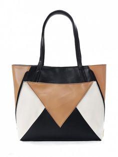 4baa3da616d7 Patchwork Geometric Contrasting Color Shoulder Bag - BLACK Popular Handbags