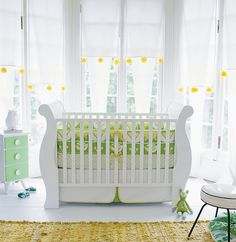 gender neutral nursery - love the bay windows - good inspiration for the room we'll be using!
