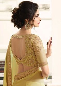 latest bollywood designer indian wedding bridal party Georgette saree sari dress in Choli Designs, Saree Blouse Neck Designs, Saree Blouse Patterns, Bridal Blouse Designs, Indian Blouse Designs, Golden Blouse Designs, Traditional Blouse Designs, Choli Blouse Design, Designer Blouse Patterns