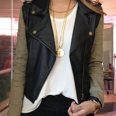 cargo and leather jacket, white chiffon blouse