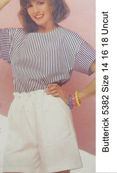 Butterick+5382+Pattern+Uncut+Misses+Top+and+Shorts+Drawstring+Elastic+WaistSize+14+16+18+See+&+Sew
