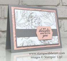 Karten Diy, Peonies Garden, Stamping Up Cards, Get Well Cards, Cute Cards, Easy Cards, Paper Cards, Creative Cards, Flower Cards
