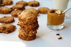 Oat Biscuits with Peanut butter and wholemeal flour- Mogyorós Zabkeksz Teljes kiőrlésű liszttel Peanut Butter, Biscuits, Cereal, Muffin, Cookies, Breakfast, Food, Crack Crackers, Crack Crackers