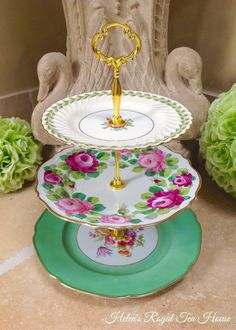 Three tier cake stand 3 tier vintage China by HelensRoyalTeaHouse