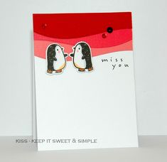 by KISS - Keep It Sweet and Simple Card Making Inspiration, Making Ideas, Arctic Penguins, Mama Elephant Stamps, Creative Cards, Diy Cards, Cardmaking, Christmas Crafts, Perler