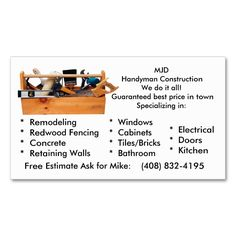 1978 best handyman business cards images on pinterest business mjd handy man business card friedricerecipe Gallery