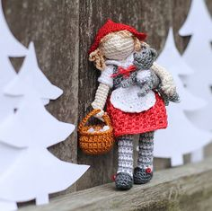 Little Red Riding Hood crochet doll. Collectable by FancyKnittles ☆