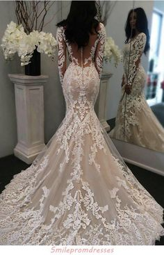 V Neck Wedding Dress, Top Wedding Dresses, Wedding Dress Trends, Long Sleeve Wedding, Sexy Wedding Dresses, Bridal Dresses, Mermaid Wedding Dress With Sleeves, Tulle Wedding, Lace Wedding Gowns