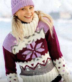 Схема спицами свитер с большим воротником