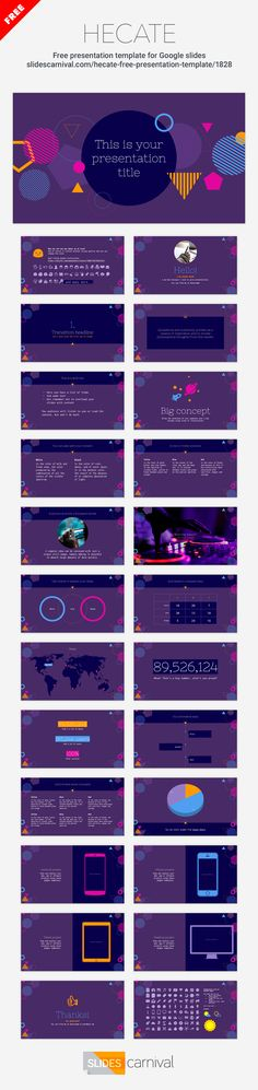 Dare to use this template and you'll make your message stand out from the crowd for sure. It is a great slides theme for talking about trends, festivals, music, videogames... but also if you want a fun touch on a maths, science, or tech presentation.