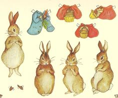 bushy tail paper dolls   Based on the work of Beatrix Potter