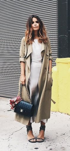 A Midi Dress, Duster Coat, and Heels