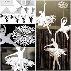 Creative Ideas – DIY Beautiful Snowflake Ballerinas from Templates – Origami How To Make Snowflakes, Paper Snowflakes, Snowflake Template, Snowflake Pattern, Snowflake Craft, Diy Paper, Paper Art, Paper Crafts, Holiday Crafts