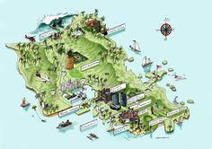 Tourist map of Oahu, Hawaii