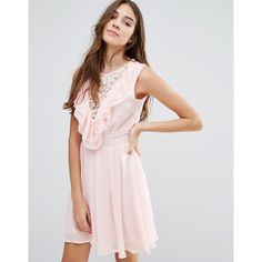 Wal G Lace Insert Skater Dress With Ruffles (€32) ❤ liked on Polyvore featuring dresses, pink, flouncy dress, pink skater dress, ruffle dress, flounce dress and woven dress