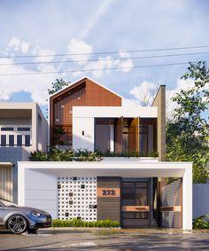 Nghia House on Behance Minimal House Design, Modern Villa Design, Modern Minimalist House, Home Modern, Modern House Plans, Modern Tropical House, Tropical House Design, Facade Design, Exterior Design