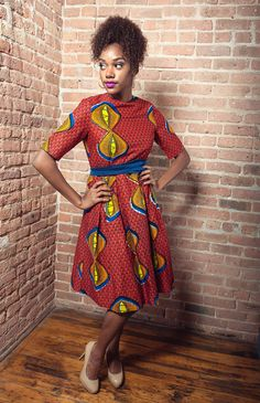 African Print High Neck Dress
