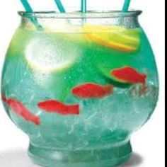 Fish bowl drink. Fill bowl with 1/2 cup of nerds then 1/4 of the way with ice. 5 oz vodka 5 oz malibu 3 oz blue curaçao 6 oz sweet & sour mix 16 oz pineapple juice 16 oz sprite. swedish fish
