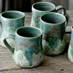 Most recent Pics creative Ceramics mugs Tips Handmade ceramic mugs in green drippy glazes Handmade Pottery Mugs, Ceramic Pottery, Pottery Ideas, Pretty Mugs, Ceramic Coffee Cups, Coffee Mugs, Coffee Accessories, Pinch Pots, Yarn Bowl