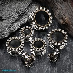 A Pair of Antique Royal Sparkle Ornament Screw-Fit Eyelet Plug