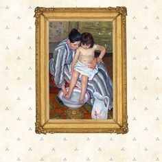 The Child's Bath,oil painting by American artist Mary Cassatt, 1893.Motherhood, mother and child, Wall Art Print, Giclee replica.