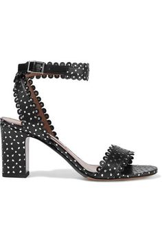 Tabitha Simmons - Leticia Studded Perforated Leather Sandals - Black - IT