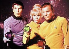 Spock, Rand, Kirk with colored lights publicity photo