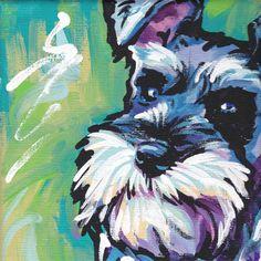 Schnauzer art print modern Dog pop art bright by BentNotBroken-previous pinner Lexi, this is you Dog Pop Art, Dog Art, Schnauzer Art, Miniature Schnauzer, Dog Portraits, Portrait Art, Clever Dog, Dog Paintings, Modern Paintings