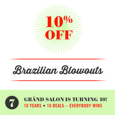 It's the perfect time to get your hair ready for fall... book a brazilian blowout this month and get 10% off as part of our 10th anniversary 10-10 wins promotion. :) #tentenwins #grandsalon #citysalon #brazilianblowout