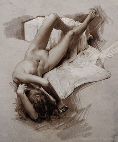 Contemporary figurative artist Anatoliy Kalugin, supine reclining female frontal nude drawing #NSFW