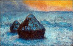Claude Monet, Grainstacks at Sunset, Snow Effect, 1890  (Art Institute of Chicago)