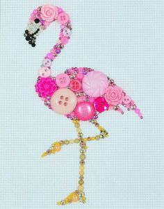 Button Art Pink Flamingo Vintage Button by PaintedWithButtons - DIY @ Craft's Crafts To Make, Fun Crafts, Crafts For Kids, Arts And Crafts, Flamingo Art, Pink Flamingos, Button Art, Button Crafts, Jewelry Crafts