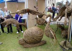 Willow sculptures made by participants on Julieann Worrall Hood's course at Marlborough College Summer School