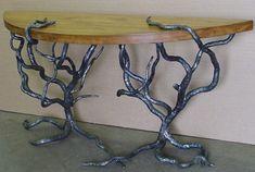 Displaying wood and metal table.jpeg