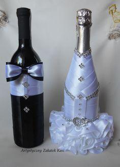 Recycled Wine Bottles, Wine Bottle Crafts, Bottle Art, Bridal Wine Glasses, Wedding Glasses, Wedding Wine Bottles, Champagne Bottles, Bride And Groom Glasses, Bottle Cover