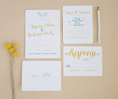 modern teal and gold via 8 Whimsical Wedding Invitations