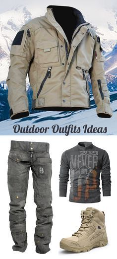 Mens Outdoor Hiking Camping Outfit Ideas #SnowJackets #WinterOutfits Stylish Mens Outfits, Cool Outfits, Stylish Men Over 50, Mens Outdoor Clothing, Tactical Jacket, Hiking Shirts, Tactical Clothing, Camping Outfits, Motorcycle Outfit