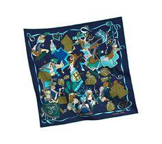 2014 F/W | Le Bal Masqué | Vintage silk twill scarf (70 cm x 70 cm) | Ref. H982851S 12 | MARINE/ VERT/ TURQUOISE