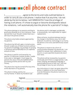 Set your child up for success when you first give them the privilege of  having their own cell phone.  Our simple cell phone contract is a great way to help your child understand the rules that should come when they are first given a cell phone and clearly outline the consequences if those rules aren't followed. Make it easy on all of you to get off on the right path. Cell Phone Rules for Tweens and Teens. SunshineandHurricanes.com