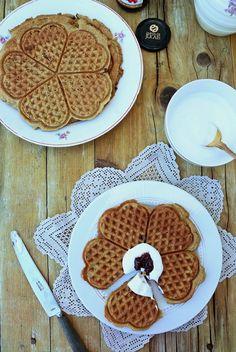 Waffles sem gluten de matcha