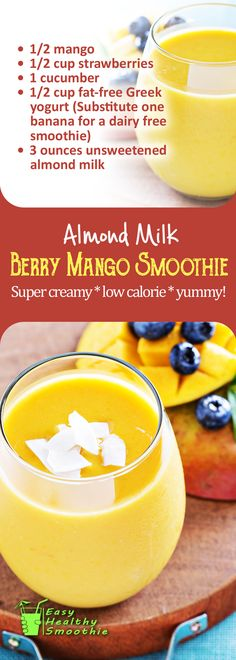 One of the creamiest almond milk smoothies and also includes a surprising vegetable ingredient that adds to the nutritional value and fresh taste, but without loading too much calories! With how sweet this smoothie is, it is going to help limit all of your sugar cravings and keep your calorie intake low as well | Berry Mango Almond Milk Smoothie