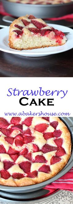 Try this basic strawberry cake, a Martha Stewart recipe, which highlights seasonal berries combined with a traditional plain cake. I stuck with the strawberries in the original recipe but I'll surely expand it this summer to include other fruits like blueberries, raspberries and even peaches and plums. Made by Holly Baker at www.abakershouse.com